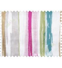 Pink blue grey colourful vertical stripes cotton main curtain designs