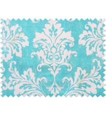 Blue white damask cotton main curtain designs