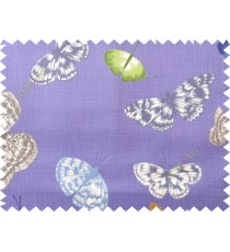 Blue grey butterfly cotton main curtain designs