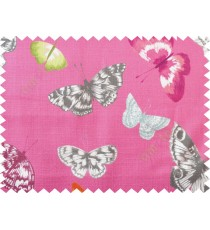 Dark pink black butterfly cotton main curtain designs