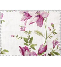 Purple green colourful natural floral cotton main curtain designs