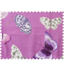 Purple grey butterfly cotton main curtain designs