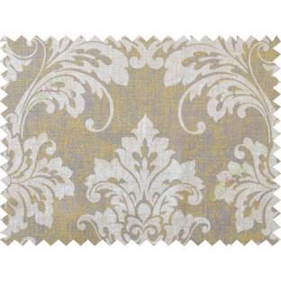 Yellow  grey damask cotton main curtain designs