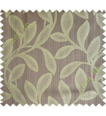 Brown yellow leafy polycotton main curtain designs