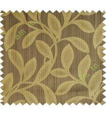 Brown green leafy polycotton main curtain designs