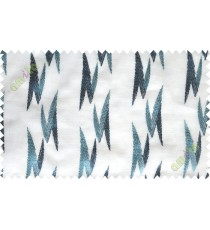 White aqua blue embroidery zigzag contemporary poly sheer curtain designs