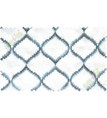 Aqua blue white fench embroidery poly sheer curtain designs