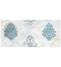Aqua blue white embroidery motive design poly sheer curtain designs