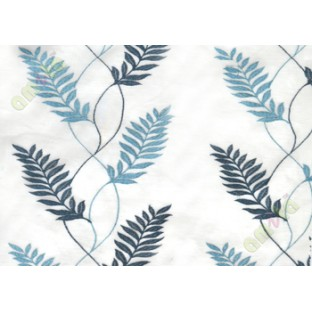 Pure white aqua blue embroidery tendril leaf poly sheer curtain designs