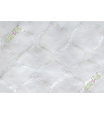 Pure white fench embroidery poly sheer curtain designs