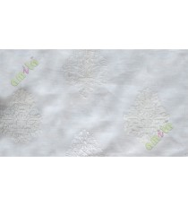 Pure white embroidery motive design poly sheer curtain designs