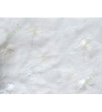 Pure white aqua blue floral embroidery poly sheer curtain designs
