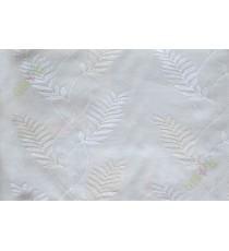 Pure white embroidery tendril leaf poly sheer curtain designs