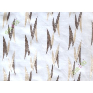 White brown beige embroidery zigzag contemporary poly sheer curtain designs