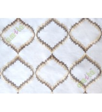 Brown beige white fench embroidery poly sheer curtain designs