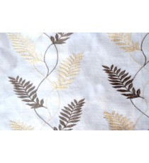 Pure white beige brown embroidery tendril leaf poly sheer curtain designs