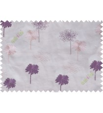 Purple cream white floral embroidery poly sheer curtain designs