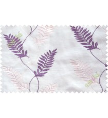Purple cream embroidery tendril leaf poly sheer curtain designs