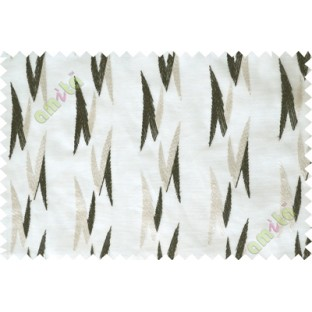 White black embroidery zigzag contemporary poly sheer curtain designs