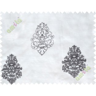 Black and white embroidery motive design poly sheer curtain designs