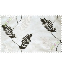 Black and white embroidery tendril leaf poly sheer curtain designs