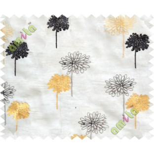 Gold black beige floral embroidery poly sheer curtain designs
