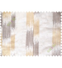Brown yellow embroidery vertical stripes poly sheer curtain designs