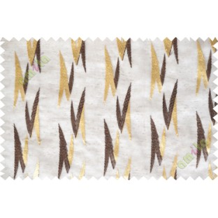 Brown gold embroidery zigzag contemporary poly sheer curtain designs