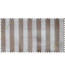 Brown white vertical stripes poly sheer curtain designs