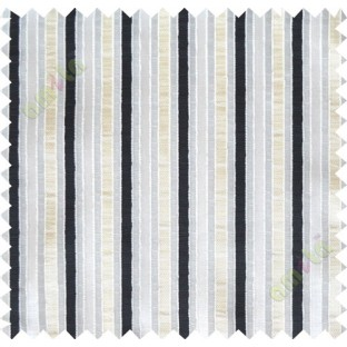 Black beige white main fabric stripes poly sheer curtain designs