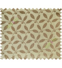 Brown leafy design polycotton main curtain designs