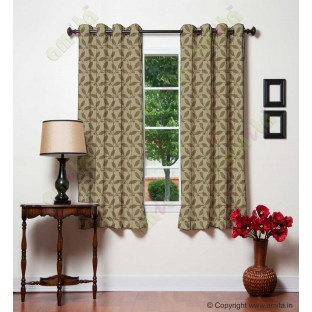 Brown leafy design polycotton main curtain designs