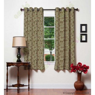 Brown botanical design polycotton main curtain designs