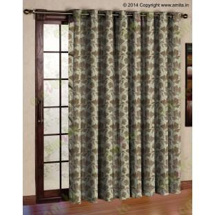 Brown floral design polycotton main curtain designs