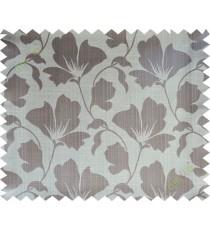 Brown beige floral design polycotton main curtain designs