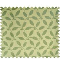 Yellow green leafy design polycotton main curtain designs