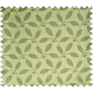 Yellow green leafy design polycotton main curtain designs