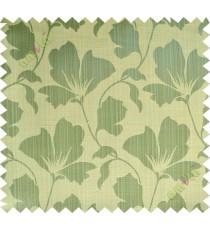 Yellow green beige floral design polycotton main curtain designs