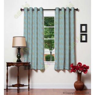 Aqua blue beige vertical wevy polycotton main curtain designs