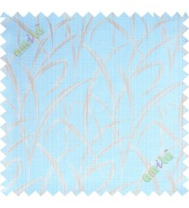 Aqua blue beige maze leaf polycotton main curtain designs