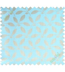 Aqua blue beige leafy design polycotton main curtain designs