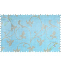 Aqua blue beige botanical design polycotton main curtain designs