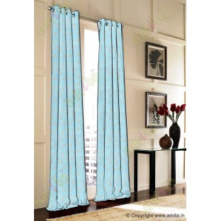 Aqua blue beige botanical design polycotton main curtain designs