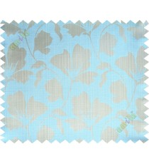 Aqua blue beige floral design polycotton main curtain designs