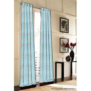 Aqua blue beige floral design polycotton main curtain designs