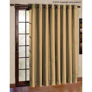 Brown gold vertical pencil stripes polycotton main curtain designs