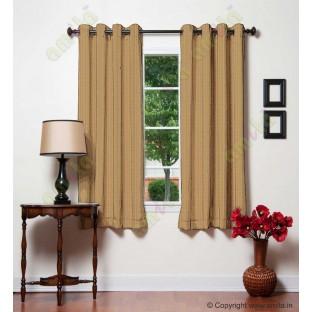 Brown gold vertical pencil stripes polycotton main curtain designs