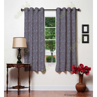 Dark purple botanical design polycotton main curtain designs