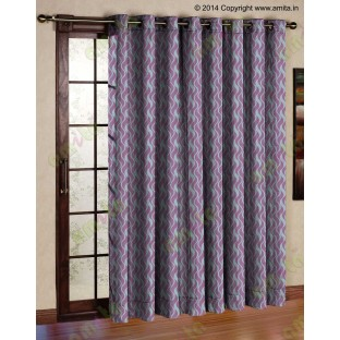 Pink grey vertical wevy polycotton main curtain designs