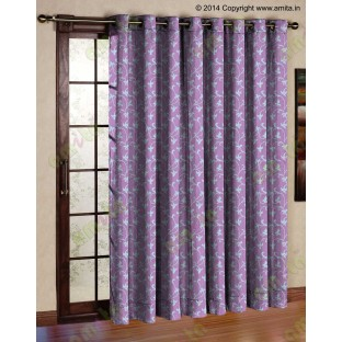 Pink grey botanical design polycotton main curtain designs